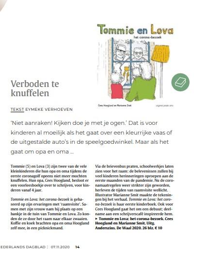 De eerste boekrecensie: ons corona kinderboek staat in het Nederlands dagblad!